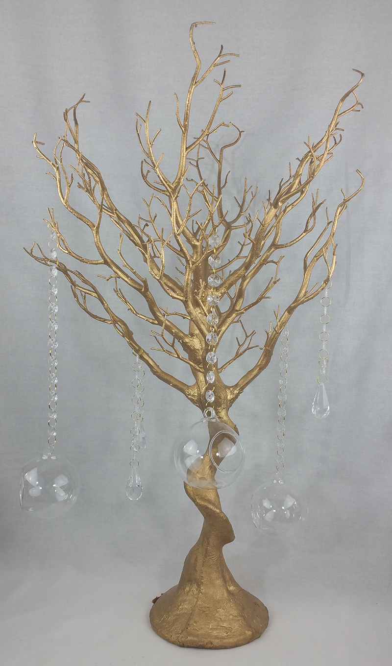 Gold Manzanita tree (decorated). 66cm tall. From £15.50 each.