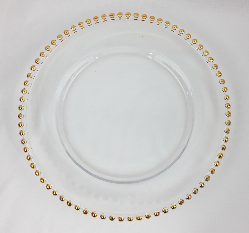 Gold beaded charger plate. From £1.85 each.