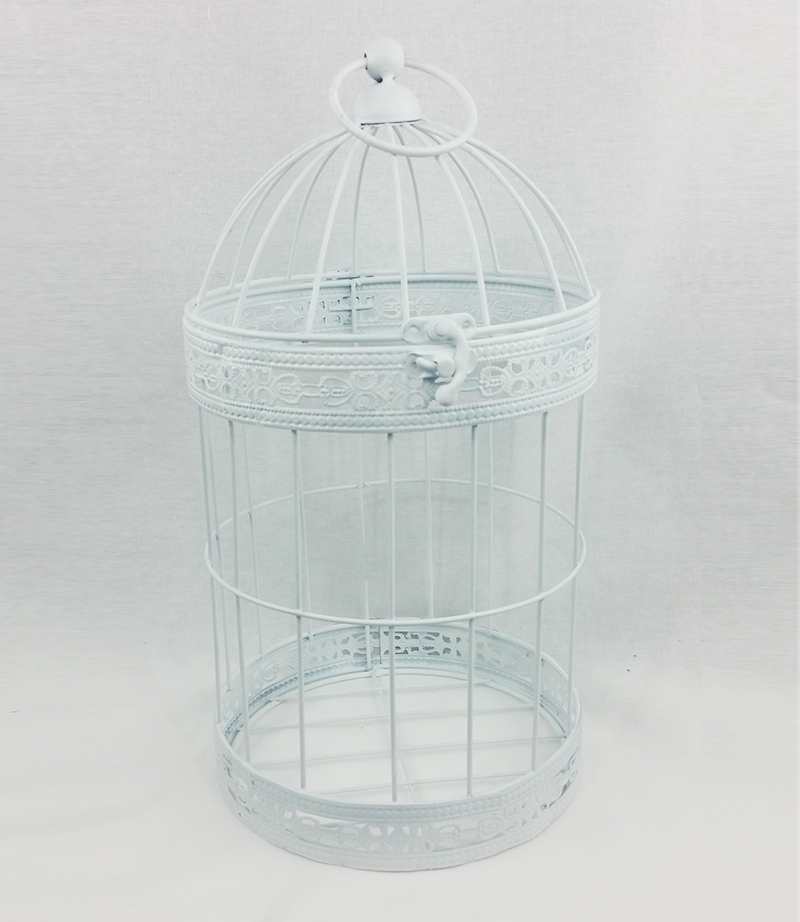 Medium white bird cage. 35cm x 17 cm. From £4 each.
