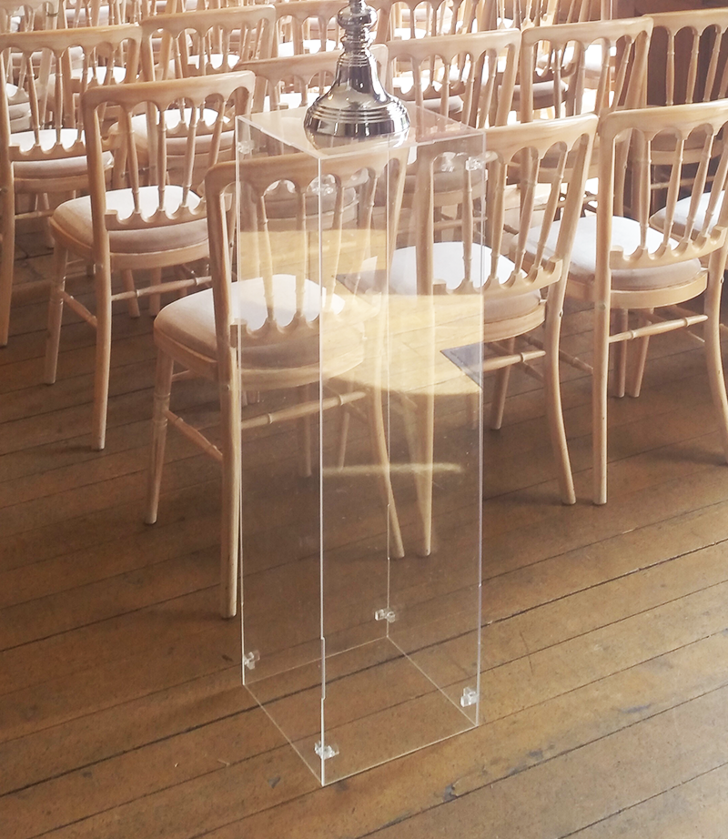 Clear acrylic plinth. 1 metre tall. From £25 each.