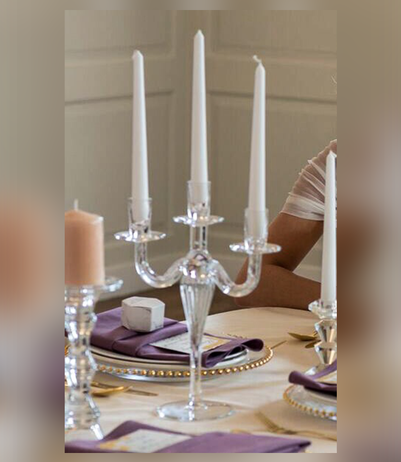 Glass 3 arm candelabra. 30 cm tall. £7 each.