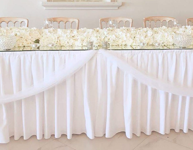 White table skirt. 21 feet. From £20 each