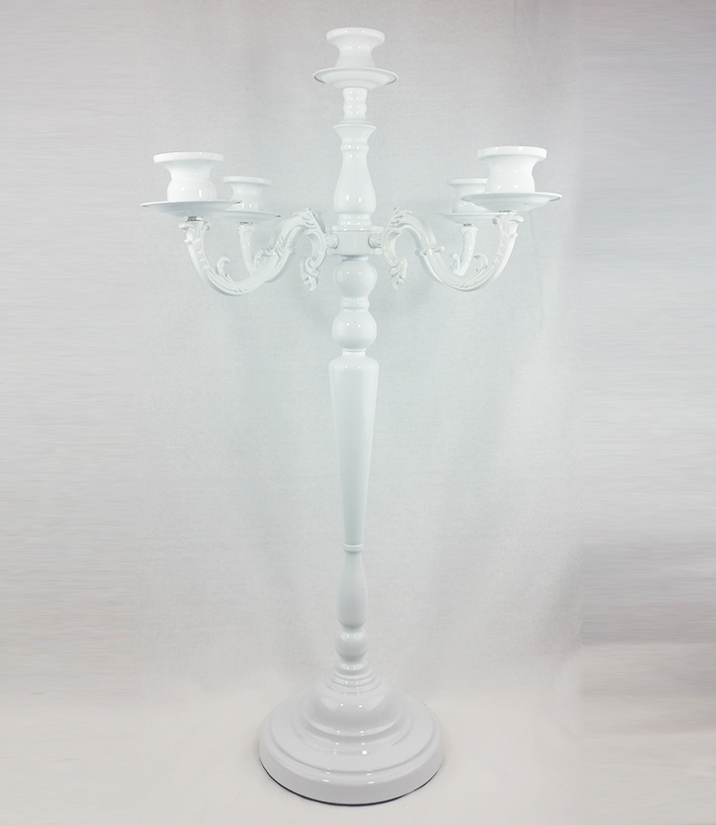 White 5 arm candelabra. 76cm tall. From £17 each.